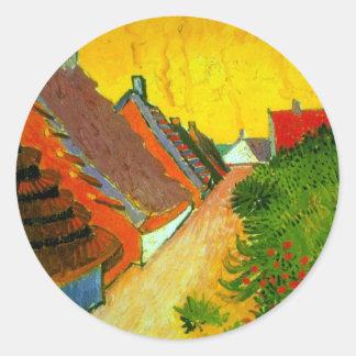 Dorfstrasse at Sainte-Maries painting by Van Gogh Classic Round Sticker