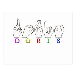 DORIS ASL FINGERSPELLED NAME SIGN POSTCARD