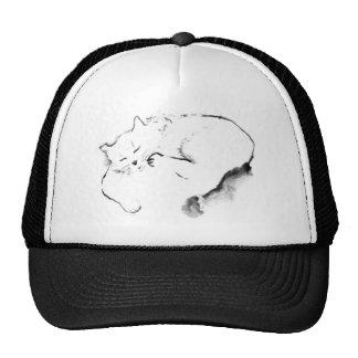 Doris Day Z cat Sumi-e ink painting Hats