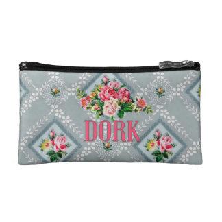 Dork makeup bag vintage wallpaper pink damask