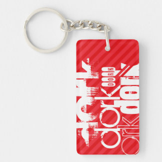 Dork; Scarlet Red Stripes Double-Sided Rectangular Acrylic Key Ring