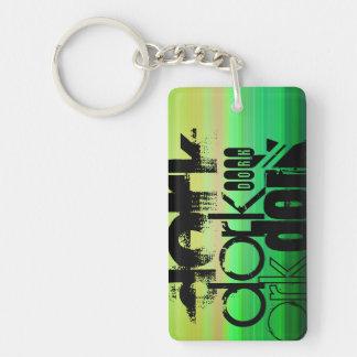 Dork; Vibrant Green, Orange, & Yellow Double-Sided Rectangular Acrylic Keychain