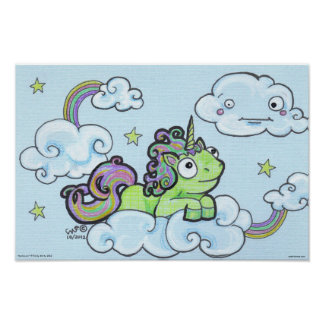 Dorkicorn Cartoon Unicorn Fantasy Humor Art Print