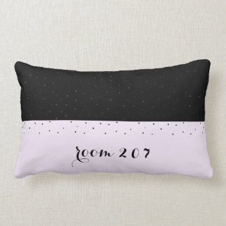 Dorm Room Number Black and Purple with Dots Lumbar Cushion