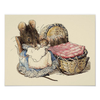 Dormouse Mother and Child Poster