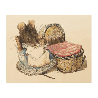 Dormouse Mother and Child Wood Print