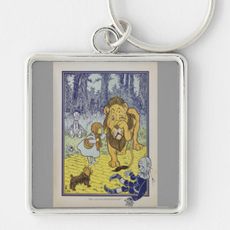 Dorothy and the Cowardly Lion from Wizard of Oz Silver-Colored Square Key Ring