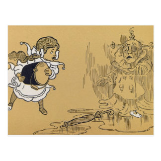 Dorothy melting Wicked Witch West, Wizard of Oz Postcard