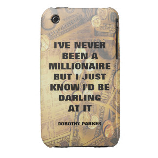 Dorothy Parker millionaire quote money background Case-Mate iPhone 3 Case
