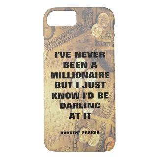 Dorothy Parker millionaire quote money background iPhone 7 Case