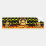 Dorothy skull real fire and flames bumper sticker.