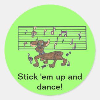 Dorothy The Dancing Dachshund Round Sticker