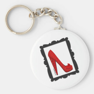 Dorothy's Framed Ruby Red Heels Basic Round Button Key Ring