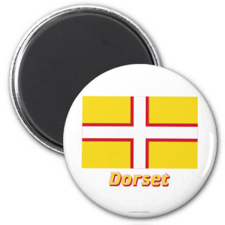 Dorset Flag with Name 6 Cm Round Magnet