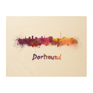 Dortmund skyline in watercolor wood prints