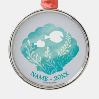 Dory & Nemo | Shell Graphic Add Your Name Silver-Colored Round Decoration