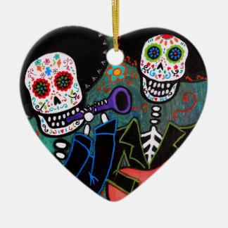 Dos Amigos Dia de los Muertos Ceramic Heart Decoration