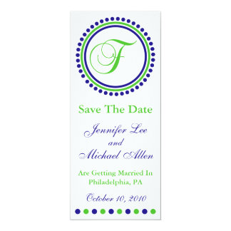 "Dot Circle Monogram Save The Date (F Green / Blue) 4"" X 9.25"" Invitation Card"