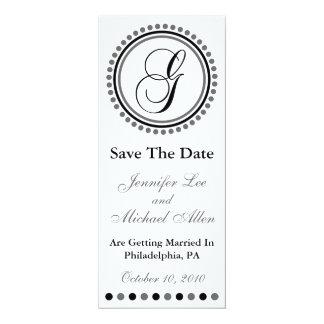"Dot Circle Monogram Save The Date (G Black / Gray) 4"" X 9.25"" Invitation Card"