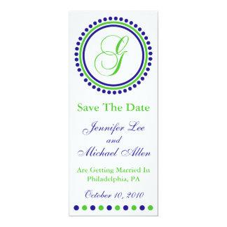 "Dot Circle Monogram Save The Date (G Green / Blue) 4"" X 9.25"" Invitation Card"