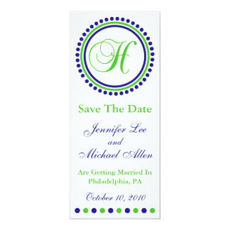 "Dot Circle Monogram Save The Date (H Green / Blue) 4"" X 9.25"" Invitation Card"
