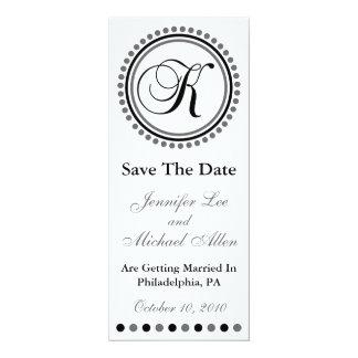 "Dot Circle Monogram Save The Date (K Black / Gray) 4"" X 9.25"" Invitation Card"