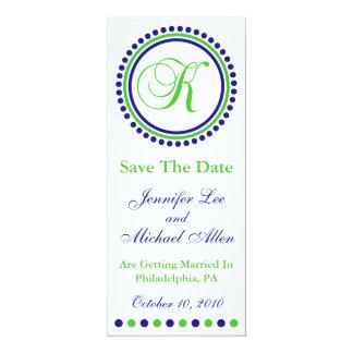 "Dot Circle Monogram Save The Date (K Green / Blue) 4"" X 9.25"" Invitation Card"
