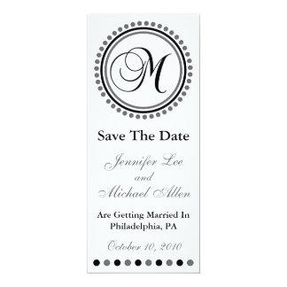 "Dot Circle Monogram Save The Date (M Black / Gray) 4"" X 9.25"" Invitation Card"