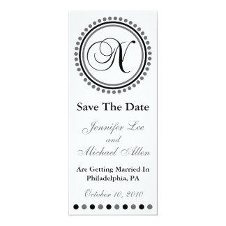 "Dot Circle Monogram Save The Date (N Black / Gray) 4"" X 9.25"" Invitation Card"