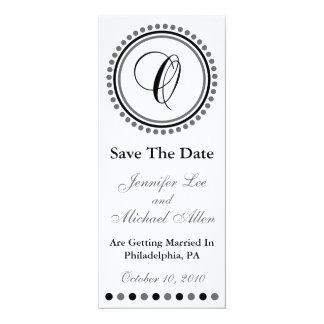 "Dot Circle Monogram Save The Date (O Black / Gray) 4"" X 9.25"" Invitation Card"