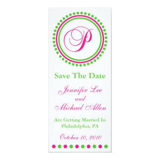 "Dot Circle Monogram Save The Date (P Pink / Green) 4"" X 9.25"" Invitation Card"