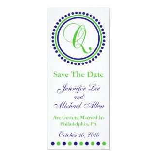 "Dot Circle Monogram Save The Date (Q Green / Blue) 4"" X 9.25"" Invitation Card"