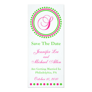 """Dot Circle Monogram Save The Date (S Pink / Green) 4"""" X 9.25"""" Invitation Card"""