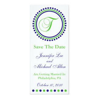 "Dot Circle Monogram Save The Date (T Green / Blue) 4"" X 9.25"" Invitation Card"