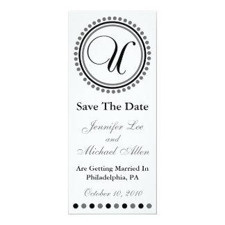 "Dot Circle Monogram Save The Date (U Black / Gray) 4"" X 9.25"" Invitation Card"