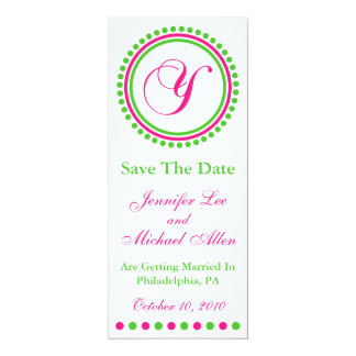 """Dot Circle Monogram Save The Date (Y Pink / Green) 4"""" X 9.25"""" Invitation Card"""
