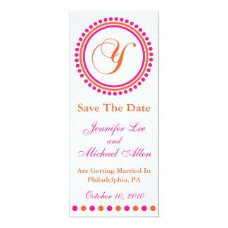 "Dot Circle Monogram Save The Date (Y Pink Orange) 4"" X 9.25"" Invitation Card"