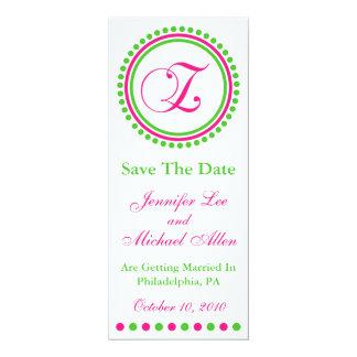 "Dot Circle Monogram Save The Date (Z Pink / Green) 4"" X 9.25"" Invitation Card"