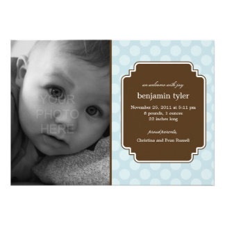 Dot Delight Baby Boy Birth Announcement Personalized Invitations