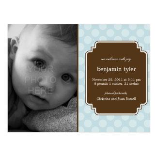 Dot Delight Baby Boy Birth Announcement Postcard