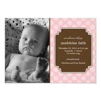 Dot Delight Baby Girl Birth Announcement