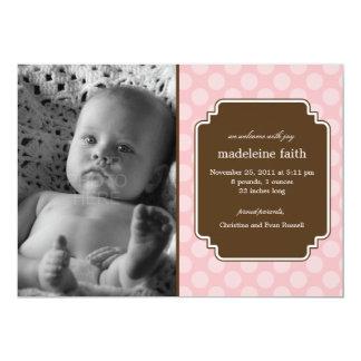 Dot Delight Baby Girl Birth Announcement