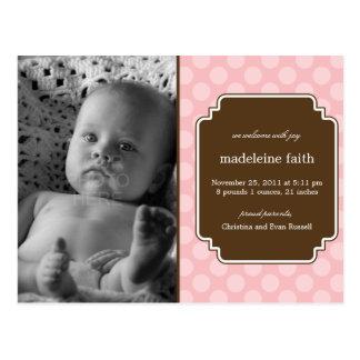 Dot Delight Baby Girl Birth Announcement Postcard