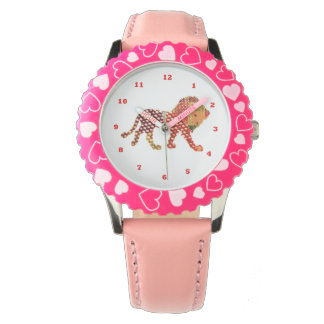 Dot Painted LION:  KID's  pink hearts Wristwatch