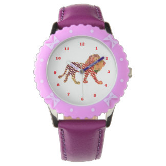Dot Painted LION:  KID's  Purple Ribbons Wristwatch