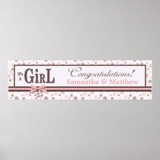 Dot Print Baby Shower Banner Girl