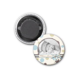 Dot Print with 3D-look Bow Birth Announcement 3 Cm Round Magnet