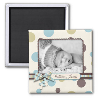 Dot Print with 3D-look Bow Birth Announcement Square Magnet