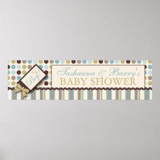 Dot & Stripe Baby Shower Banner Boy Poster
