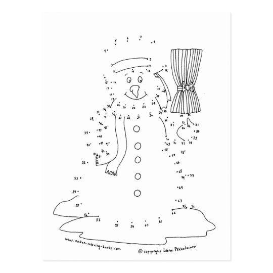 Dot to Dot Snowman Postcard